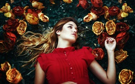 Preview wallpaper Red dress girl, roses
