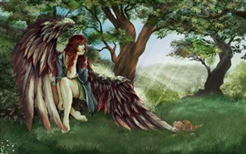 Aperçu fond d'écran Ange cheveux roux, ailes, arbres, chat, photo d'art