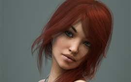Red hair fantasy girl, blue eyes