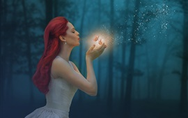 Preview wallpaper Red hair girl, butterfly, magic, forest