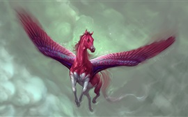 Preview wallpaper Red pegasus, horse, art picture