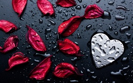 Preview wallpaper Red rose petals, love heart, water droplets