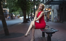 Preview wallpaper Red skirt blonde girl, sit on bench, city, street