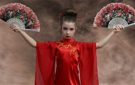 Preview wallpaper Red skirt girl, fans, Japanese style