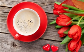 Red tulips, cup, coffee