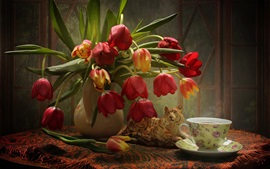 Preview wallpaper Red tulips, vase, tea