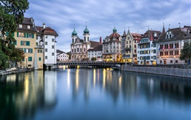 Reuss River, Lucerne, Switzerland, city, buildings