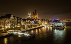 Rhine, Cologne, Germany, boats, houses, lights, night