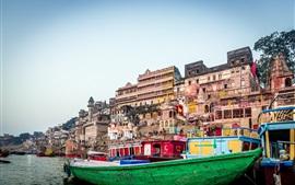 Rio Ganges, Varanasi, Índia, cidade, barcos