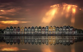 Preview wallpaper River, houses, water reflection, clouds, sun rays