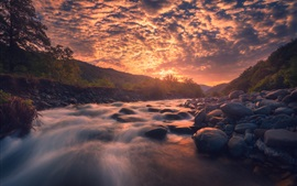 Preview wallpaper River, stones, red clouds, sunset