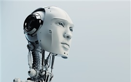 Preview wallpaper Robot, humanoid, head, high tech