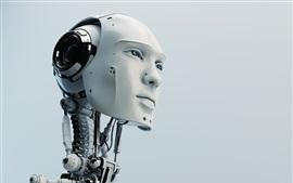 Robot, humanoide, cabeza, alta tecnología