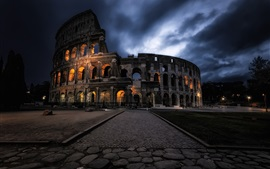 Preview wallpaper Rome Colosseum, night, clouds