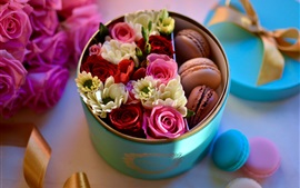 Preview wallpaper Roses and macaron, box, gift