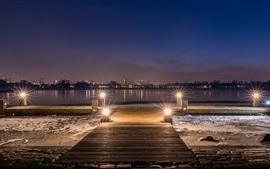Роттердам, Nederland, река, город, огни, ночь
