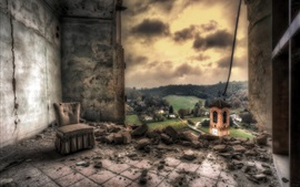 Preview wallpaper Ruins, room, bricks, clouds, HDR style