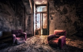 Ruins, room, chairs, dirt