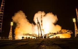 Российский космический корабль «Союз-МС-08», готовый к запуску