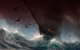 Preview wallpaper Sailboat, storm, sea, waves, bat, art picture
