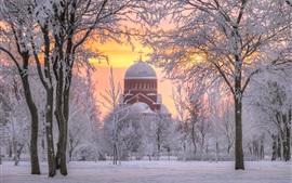 Saint Petersburg, Russia, church, snow, trees, winter