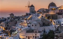 Санторини, Греция, дома, ночь, огни