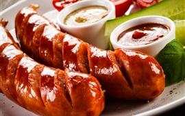 Preview wallpaper Sausage, ketchup, grill, food