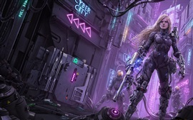 Preview wallpaper Sci-fiction, robot, weapons, city, art picture