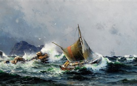 Mar e navios, pintura a óleo