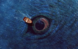 Preview wallpaper Sea, big eye, boat, digital art design