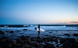Preview wallpaper Sea, coast, girl, surfer, surfboard, extreme sport, rocks