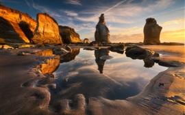 Mar, rocas, mañana, piedras, agua
