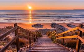 Mar, costa, praia, escada de madeira, pôr do sol