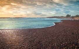 Море, берег, камни, облака, закат