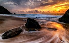 Aperçu fond d'écran Mer, ruisseau, vagues, pierres, nuages, coucher de soleil