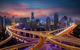 Шанхай, город, ночь, дорога, огни, небоскребы, Китай