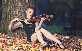Preview wallpaper Short hair girl play violin, under tree