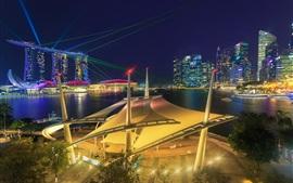 Сингапур, городская ночь, здания, огни