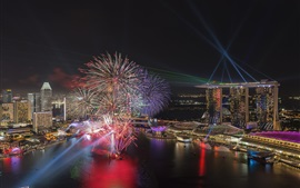 Cingapura, noite, cidade, baía, luzes, fogos de artifício
