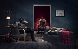 Preview wallpaper Skeleton, mask, people, room, creative