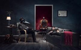 Скелет, маска, люди, комната, креатив