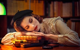壁紙のプレビュー 眠っている女の子、本