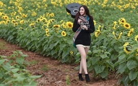 Preview wallpaper Smile Asian girl, guitar, sunflowers
