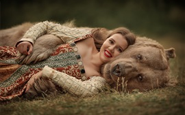 Preview wallpaper Smile girl and bear, rest on ground