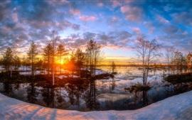 壁紙のプレビュー 雪、木、川、日没、冬
