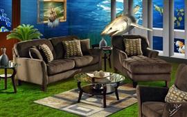 Диван, окна, под водой, акула, креативный дизайн