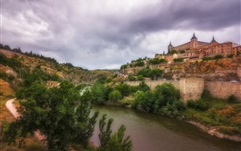 Spain, Toledo, river, castle, trees, bridge
