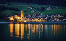 Preview wallpaper St. Wolfgang, Austria, city, night, houses, lights, river, water reflection