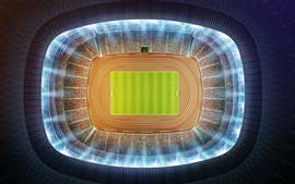 Preview wallpaper Stadium, football, top view, night, 3D design