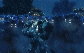 Preview wallpaper StarCraft, terran, soldiers, rain